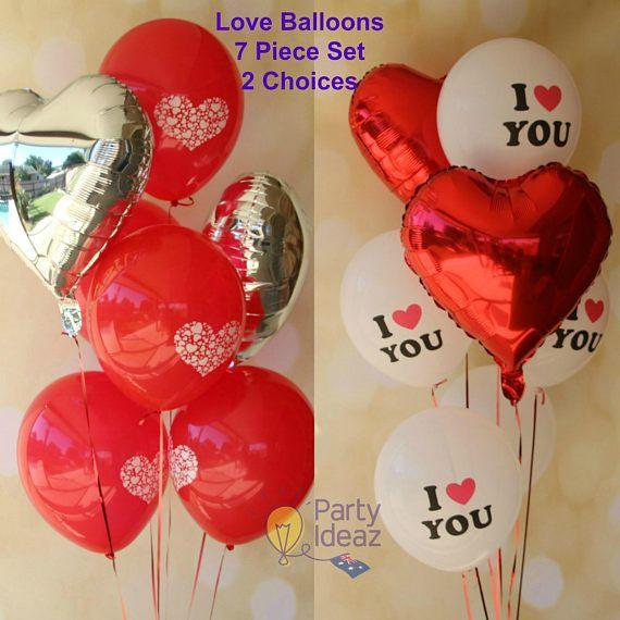 Love Heart Balloons Set  I Love You  7 Balloons  Valentines