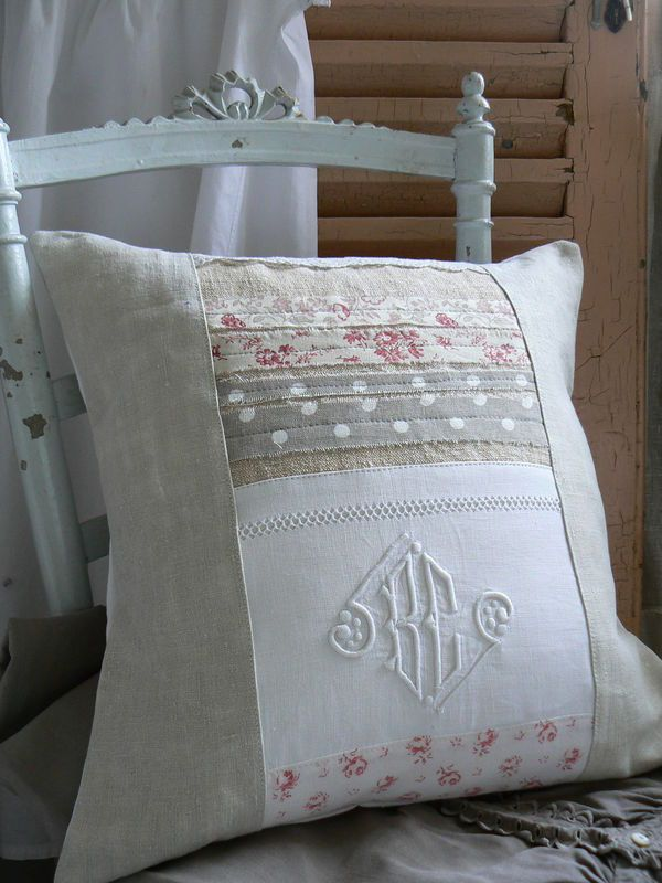 Use of vintage linens with strip quilting.