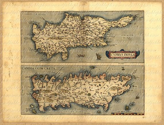 Map Of Cyprus And Crete From The 1500s 095  by phraseandfable