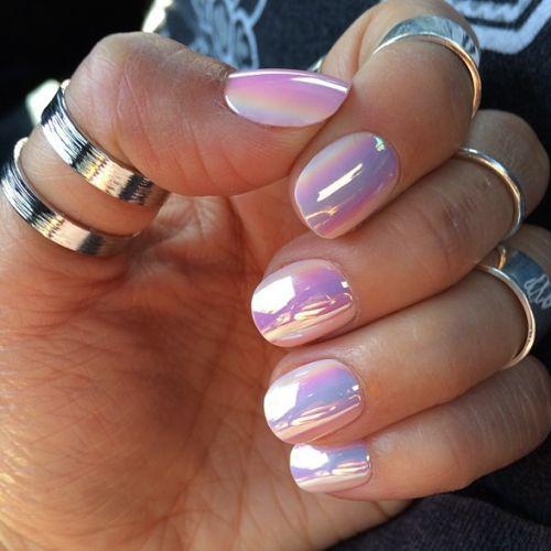 Iridescent Pink Nails