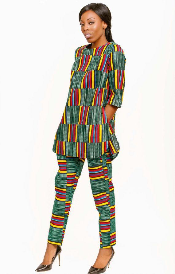 Kente Print Trouser Set, African Print Set, Coord, Matching set, African fabric, Trousers, Pants, Kente Print Top