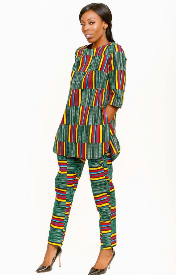 Kente Print Trouser Set, African Print Set