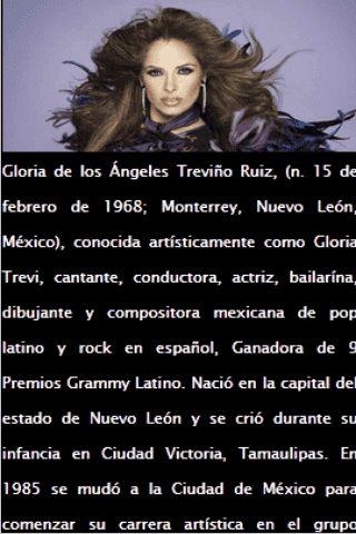 Gloria Trevi Letras y Música Aquí!<br>Instale esta aplicación gratuita con la letra de su cantante favorito. Disfrute de Gloria Trevi letra mientras escuchas la canción y ver el video. Llévelo donde quiera que vaya.<p>Menú de la aplicación:<br>- Letras!<br>- Music!<br>- Videos!<br>- Fotos!<br>- Biografía!<br>- Página Oficial Fan Facebook y Twitter!<p>AVISO LEGAL<p>Este é um aplicativo não oficial eo objetivo deste aplicativo é para o entretenimento. Esta candidatura cumpre as diretrizes da…