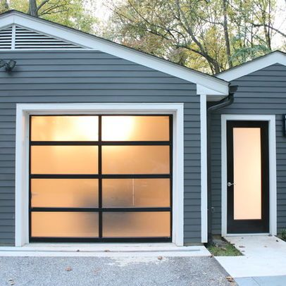 Glass Garage Door Frosted Glass Allows Light In Without The Stare Of Passersby Glass Garage Door Garage Door Styles Garage Door Colors