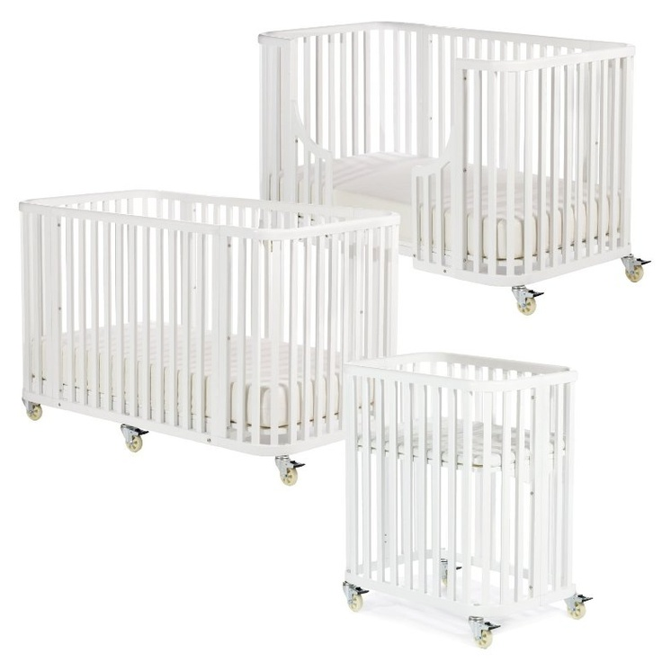 Bam Bam crib: this set comes with all of the conversion kits from bassinet up to big-kid bed. (The Stokke Sleepi junior bed conversion kit is sold separately.)  Another perk is that, although there's a similar rounded style to the crib, a traditional crib mattress fits inside — meaning you don't need a specific round mattress, such as with the Stokke crib. And the BamBam set comes with a mattress for the bassinet.  (You can buy the crib on its own for $329.)