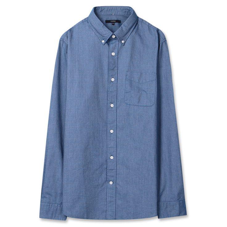 Topten10 Unisex Modern Gray Navy Solid Oxford Buttondown Cotton Dress Shirts #Topten10