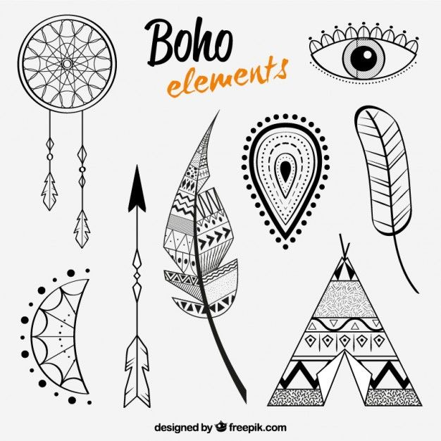 Feather and others elements in boho style Free Vector