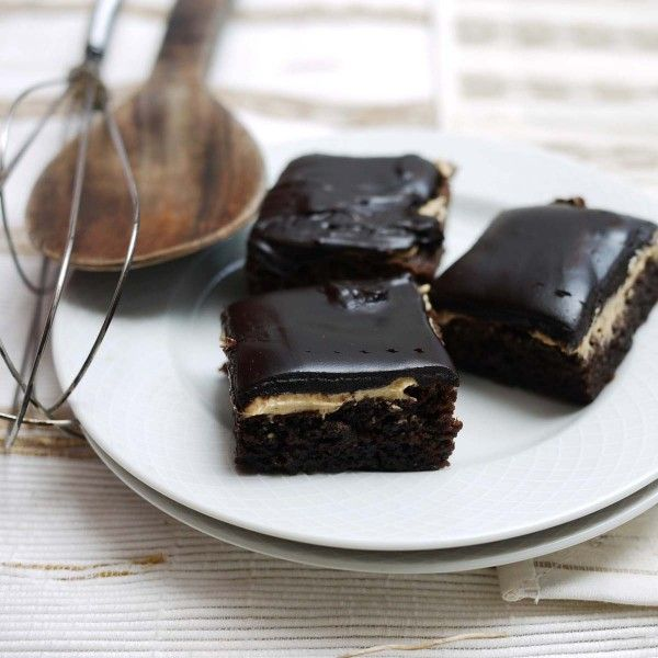 Chocolate brownies with coffee frosting and chocolate ganache