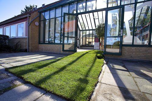 Der naturgetreue, grüne Teppich bei der DGIH Eröffnungsfeier 2013 - das fünfte Element in semitransparenter Folie an ausgewählter Glasfläche zum Hofplatz.