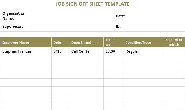 Job Sign Off Sheet Template Word Excel Template Sign Off Templates