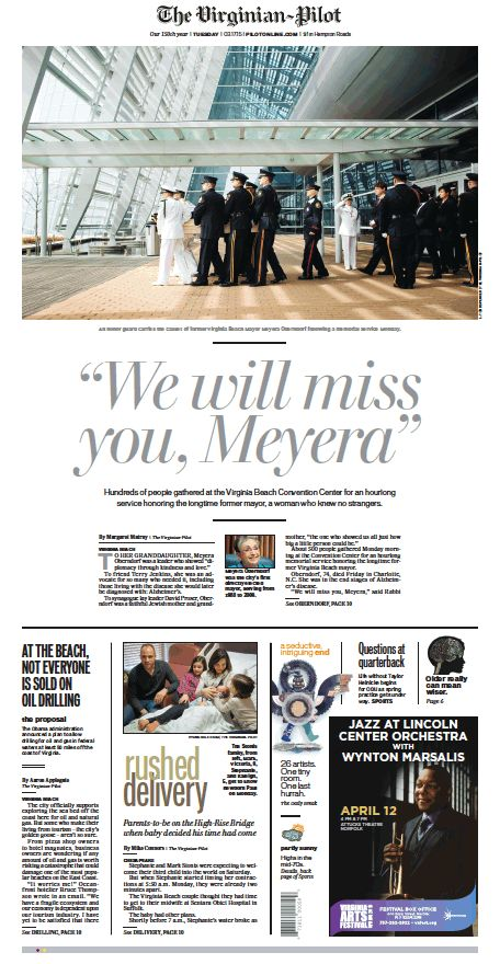 The Virginian-Pilot's front page for Tuesday, March 17, 2015.