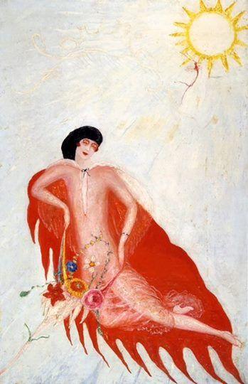 """Marcel Duchamp, che le dava lezioni di lingua a New York, le aveva insegnato il turpiloquio in francese, ingannandola sul significato delle parole. In viaggio a Parigi, lei si rivolgeva al cameriere sussurrando """"bite"""" o """"con"""": voleva un Martini. Nel frattempo dipingeva voluttuose immagini di noia e disertato desiderio femminile... Ecco Florine Stettheimer in tutto il fulgore crepuscolare di un Redon un po' così, di un Peladan un po' così, di un fauvismo un po' così."""