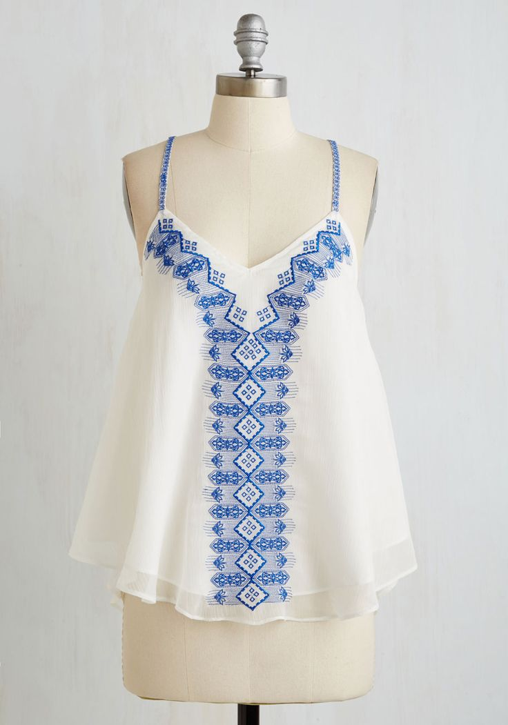 Sun and Santorini Top. Your Mediterranean jaunt is bound to be as breezy and beautiful as this embroidered tank you plan to flaunt along the Grecian coast! #white #modcloth