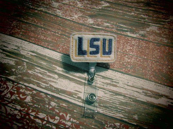 LSU Tigers Football Logo Badge Retractable Reel by BadgeToTheBone