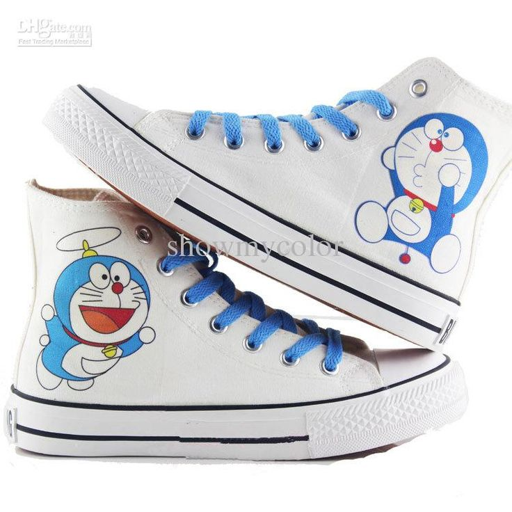 Cheap Hand Painting - Best Doraemon Cartoon Hand Painted Canvas High Top Children Online with $59.08/Pair | DHgate