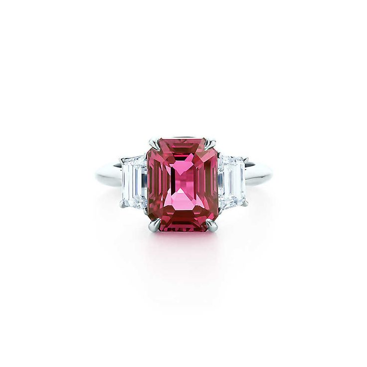 Pink sapphire ring in platinum with diamonds. | Tiffany & Co. Pink sapphire, carat weight 4.94; diamonds, carat total weight 1.13.
