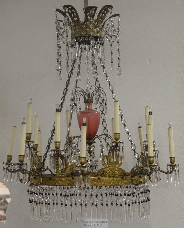 North European Baltic ormolu, cranberry, and colorless glass crystal and bronze chandelier, 16 light, 19th century. ~ Realized Price $14,400.00