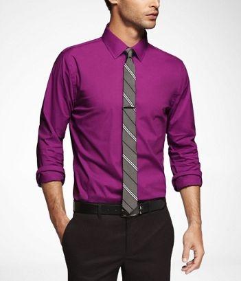 how to wear a purple dress shirt