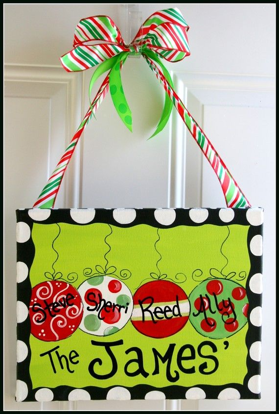 Definitely want to D.I.Y this idea!!!: Christmas Signs, Doors Hangers, Gift Ideas, Front Doors, Christmas Decor, Christmas Ornaments, Christmas Ideas, Christmas Canvas, Christmas Door