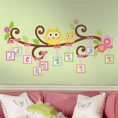 2348 owls on a tree wall decals for girls rooms and baby nursery cute owls