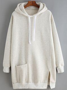 Light Grey Hooded Split Loose Sweatshirt Dress    -SheIn