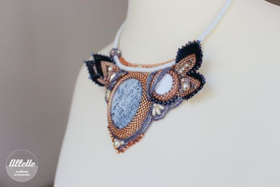 Bead embroidered necklace Verona/ Beadwork/ by AlletteAccessories