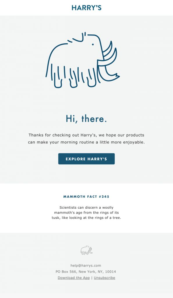Harry's Minimalist Welcome email