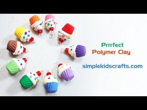 How to make polymer clay mini cupcake charms with silicone mold - Free video tutorial