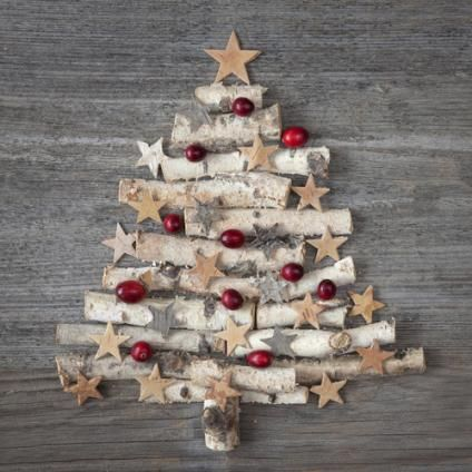 Christmas tree decorating ideas! This would be cute on barn wood & propped up by the back door
