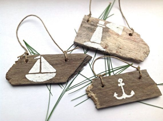 Set of 3-Nautical Christmas Ornaments-Beach Ornaments-Wooden Christmas Ornaments-Reclaimed Wood Ornaments-Hand Painted Christmas Decoration on Etsy, $12.95