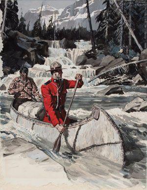 Tweed Museum of Art. Mountie in a canoe.