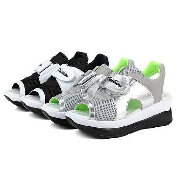 Women Summer Chic Wedge Sandals Hook Loop Color Match Mesh Breathable Sandals - US$29.98