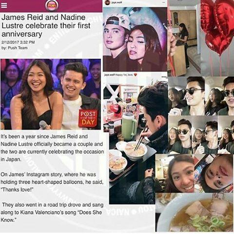 "Sudah setahun sejak James reid dan Nadine Lustre resmi menjadi pasangan dan kini keduanya sedang merayakan nya di Jepang . Di IG story James ,dia memegang 3balon berbentuk hati dan ia  berkata ""terima kasih cinta "". Mereka jg pergi dan dalam perjalanan mereka menyanyikan lagu nya Kiana valenciano yg berjudul ""Does she know "" #JadienIndonesia #JaDine ©@elites.eniidaj"
