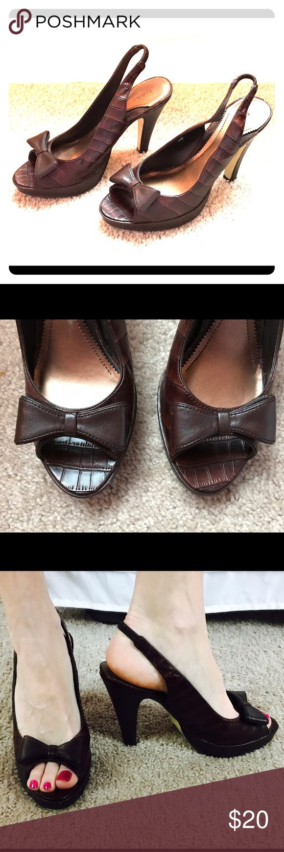 """Brown bow alligator print heels Adorable Fiona Brown Leather looking alligator print heels with bows. Seem true to size. 4.5"""" heel but on a platform in the front, so doesn't feel that tall! Fioni Shoes Heels"""