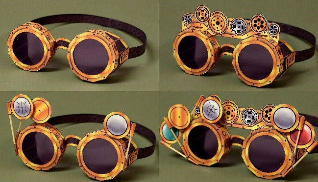 Steampunk Goggles Free Papercrafts Download - http://www.papercraftsquare.com/steampunk-goggles-free-papercrafts-download.html#Goggles, #Steampunk