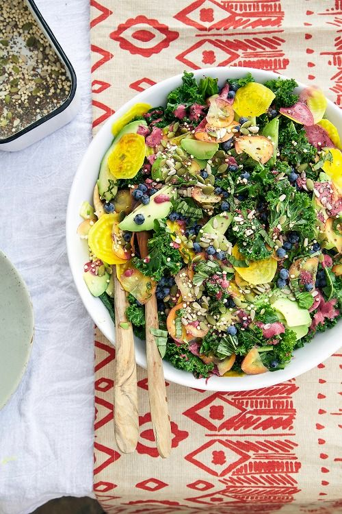 Superfood Salad with Blueberry Ginger Dressing