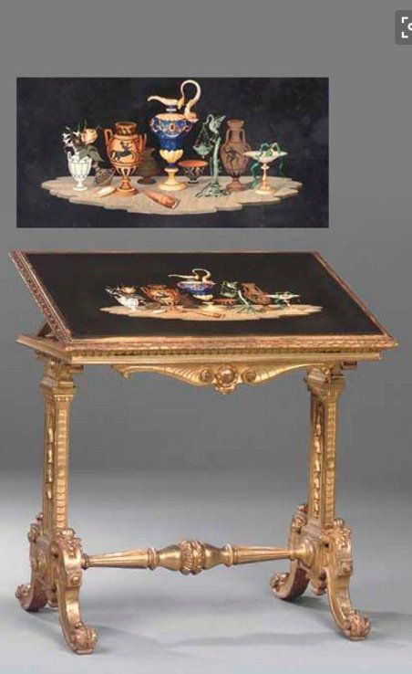 A FLORENTINE PIETRE DURA AND GILTWOOD CENTRE TABLE CIRCA 1870.