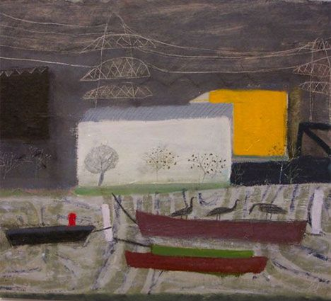 'Big sheds on the River Lea' 'Basket with cyclamen and fruit' by English artist Emma McClure (b.1962), daughter of English artist Daphne McClure. Oil on board, 30 x 36 cm. via the artist's site
