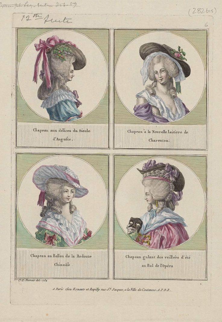 1785 Chapeau aux délices du Siecle d'Auguste, Chapeau à la Nouvelle Laitiere de Charenton, Chapeau au Ballon de la Redoute Chinoise, Chapeau galant des veillées d'été au Bal de l'Opéra