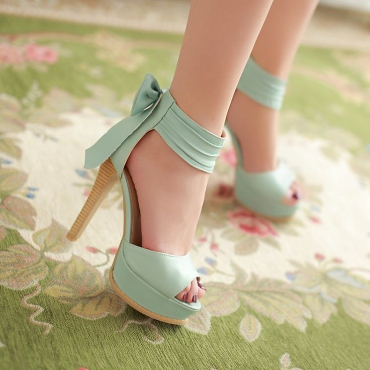Stylish High Heel Ankle Strap Blue Bow Design Sandals