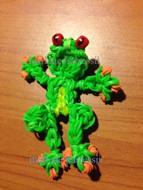 Rubber band frog Red Eyed Tree Frog - Rainbow Loom (marlene.barressii)