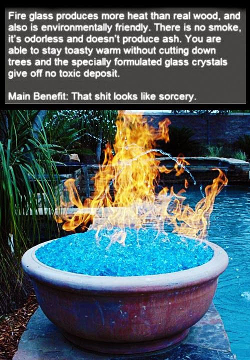Fire Glass : Ultimate Cool Stuff for Heating . Check webpage for more info. This would be great for my courtyard.