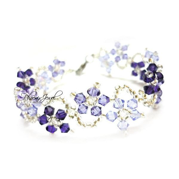 The Dance of Magic Flowers Swarovski Bracelet with Violet Colorstyle (... ❤ liked on Polyvore