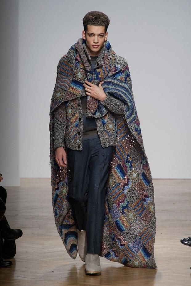 So, does this mean I can wear my throw blankie out in public? YES!!!! Missoni Autumn (Fall) / Winter 2014 men's
