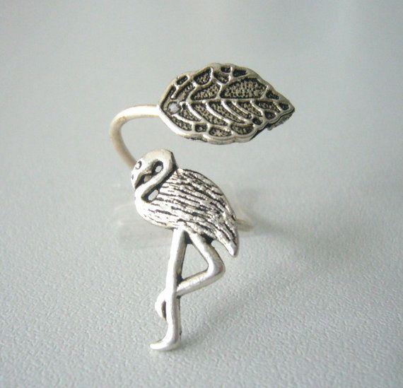 Silver flamingo ring with a leaf wrap ring by stavroula on Etsy, $19.00
