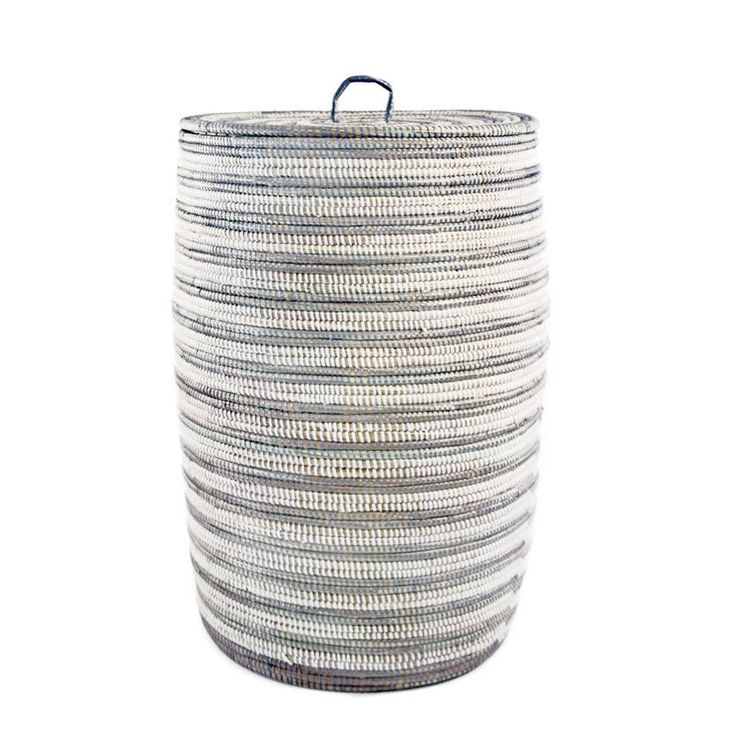 Woven African Striped Hamper - Silver