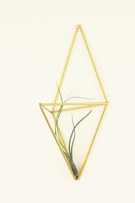 Himmeli WALL: Geometric planter Brass sculpture Air door KESKOS