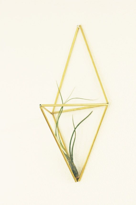 Himmeli WALL: Geometric planter Brass sculpture Air door KESKOS