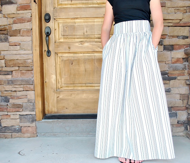DIY High-Waisted Maxi Skirt made from Bed Sheet - FREE Sewing Tutorial