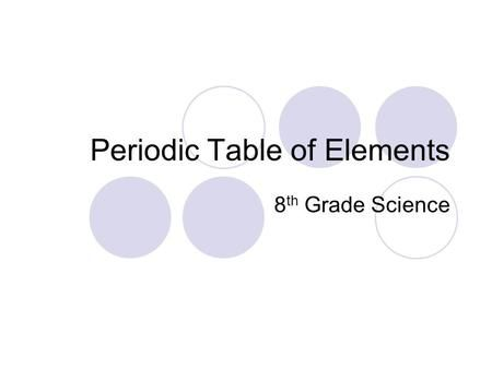 Periodic Table of Elements 8 th Grade Science. WARM UP: Write homework – leave…